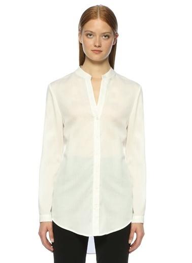 Beymen Club Hakim Yaka Şifon Gömlek Beyaz